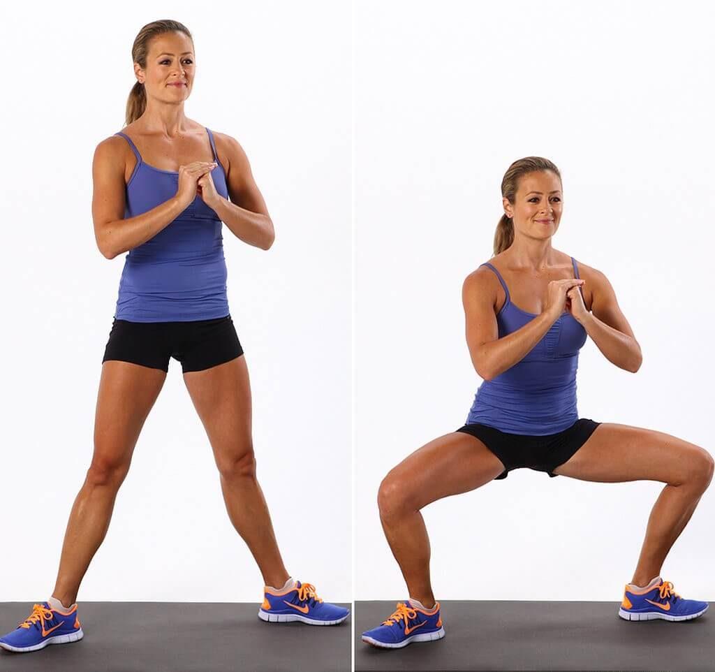упражнения для похудения плие приседания